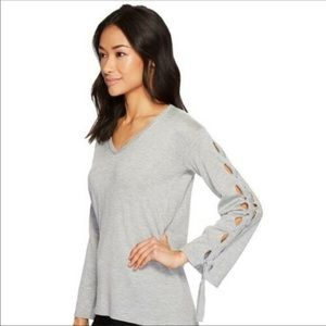 Vince Camuto Lace Up Bell Sleeve Gray Sweater